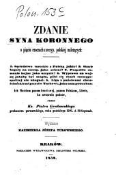 Zdanie syna koronnego: O pia̧ciu rzeczach rzeczyp. polskiej należa̧cych