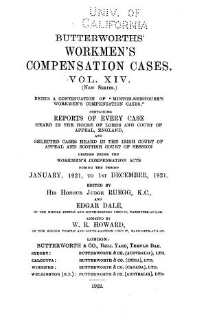Butterworths Workmen S Compensation Cases