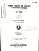Training Program for Operation of Emergency Vehicles: Final Report