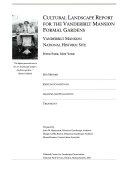 Cultural Landscape Report for the Vanderbilt Mansion Formal Gardens