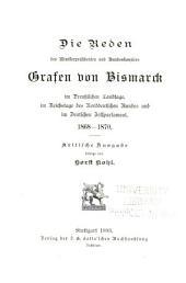 Die politischen reden des fürsten Bismarck: bd. 1868-1870