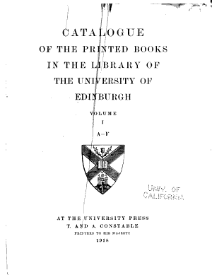 Catalogue of the Printed Books in the Library of the University of Edinburgh PDF