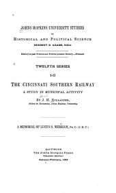 The Cincinnati Southern Railway: A Study in Municipal Activity