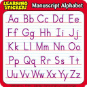 Manuscript Alphabet Learning Stickers Book