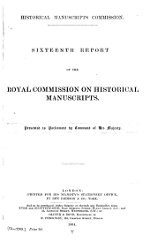 Report of the Royal Commission on Historical Manuscripts: Volumes 16-18