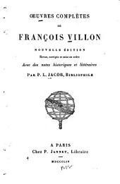 Oeuvres complètes de François Villon: Volume20,Partie1