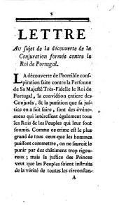 Lettre au sujet de la découverte de la conjuration formée contre le roi de Portugal