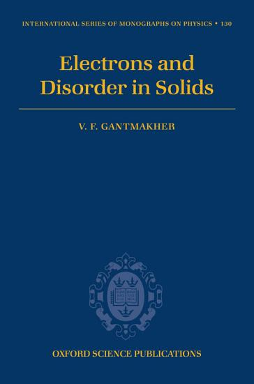 Electrons and Disorder in Solids PDF
