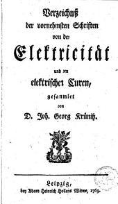 Verzeichniss der vornehmsten Schriften von der Elektricität und den elektrischen Curen