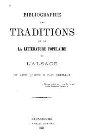 Bibliographie des traditions et de la littérature populaire de l'Alsace