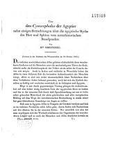 Über den cynocephalus der Ägyptier nebst einigen betrachtungen über die ägyptische mythe des Thot und Sphinx vom naturhistorischen standpunkte