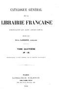 Catalogue g  n  ral de la librairie fran  aise  1840 1865 PDF