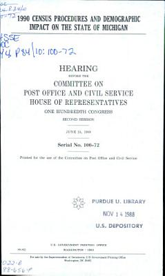 1990 Census Procedures and Demographic Impact on the State of Michigan PDF