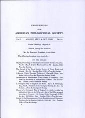 Proceedings, American Philosophical Society (vol. 1, no. 13)