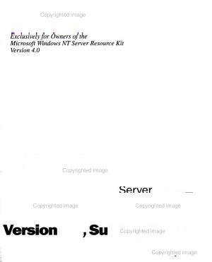Microsoft Windows NT Server Resource Kit Version 4 0 PDF