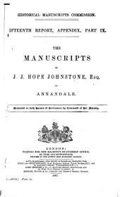 The Manuscripts of J. J. Hope Johnstone, Esq. of Annandale: Volume 15, Part 9