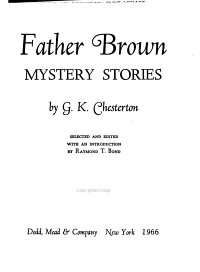 Father Brown Mystery Stories