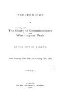 Proceedings of the Board of Commissioners of the Washington Park of the City of Albany PDF