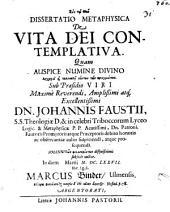 Dissertatio Metaphysica De Vita Dei Contemplativa