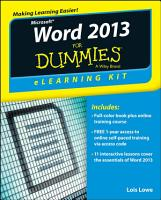 Word 2013 ELearning Kit For Dummies PDF