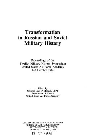 Transformation in Russian and Soviet Military History PDF