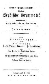 Wuk's Stephanowitsch kleine serbische Grammatik