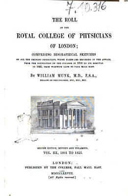 The Roll of the Royal College of Physicians of London by William Munk PDF