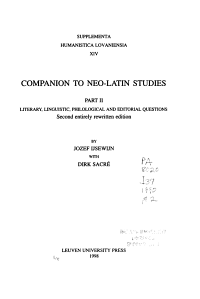 Companion to Neo Latin Studies  Literary  linguistic  philological  and editorial questions PDF