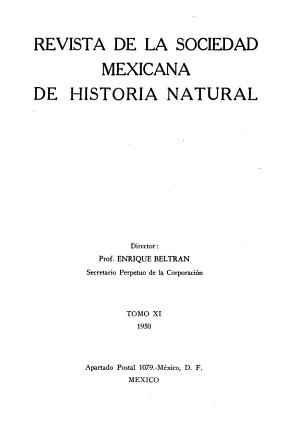 Revista de la Sociedad Mexicana de Historia Natural