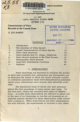 Characteristics of Wave Records in the Coastal Zone PDF