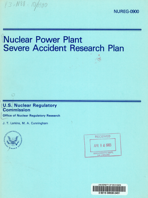 Nuclear Power Plant Severe Accident Research Plan PDF