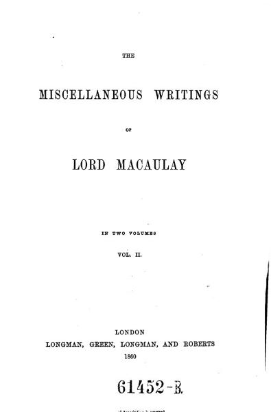 Download    The    miscellaneous writings of Lord Macaulay Book