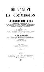 Du Mandat, de la commission et de la gestion d'affaires...