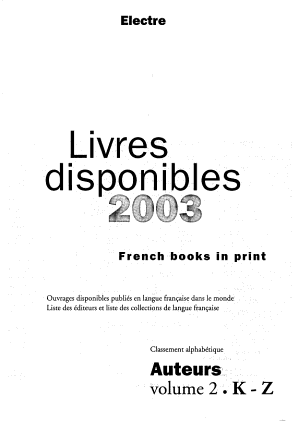 French books in print  anglais