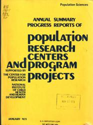 Reports From Population Research Centers And Program Projects Book PDF