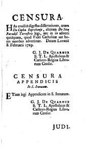 De situ Terrestris... Pracedit... conatus nokus de cepha neprehenso... Accessit Inenaeus distinguens...
