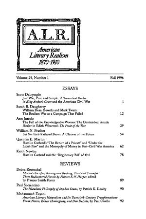 American Literary Realism  1870 1910 PDF
