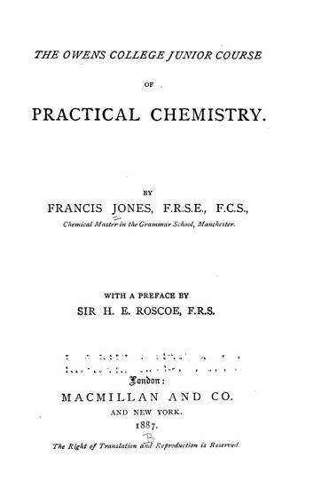 The Owens College Junior Course of Practical Chemistry PDF
