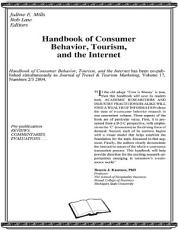 Handbook of Consumer Behavior  Tourism  and the Internet PDF