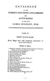 A catalogue of the ... library of ... James Bindley, which will be sold by auction, by mr. Evans, Dec. 7 [&c.]. [with MS. prices, pt.1 also with purchasers].