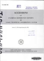 Accessions of Unlimited Distribution Reports PDF