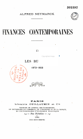Finances contemporaines: 1872-1911, Volume 1