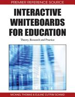 Interactive Whiteboards for Education  Theory  Research and Practice PDF