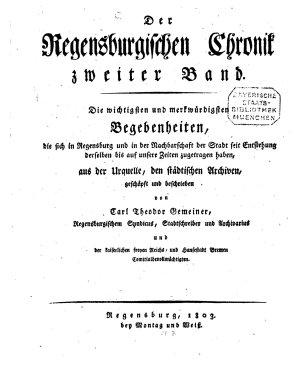 Die Regensburgische Chronik PDF