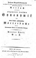 Johann August Eberhards     Versuch einer allgemeinen deutschen Synonymik in einem kritisch philosophischen W  rterbuche der sinnverwandten W  rter der hochdeutschen Mundart PDF