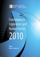 Contemporary Ergonomics and Human Factors 2010 PDF