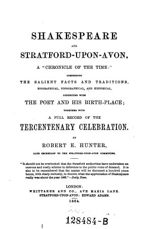 Shakespeare and Stratford upon Avon  a  chronicle of the Time