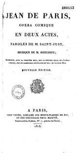 Jean de Paris: opéra comique en deux actes