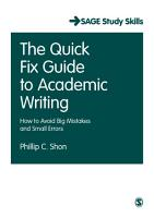 The Quick Fix Guide to Academic Writing PDF