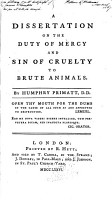 A Dissertation on the Duty of Mercy and Sin of Cruely to Brute Animals PDF